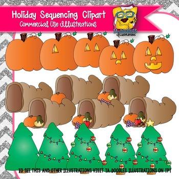 Holiday Sequencing Clip art BUNDLE