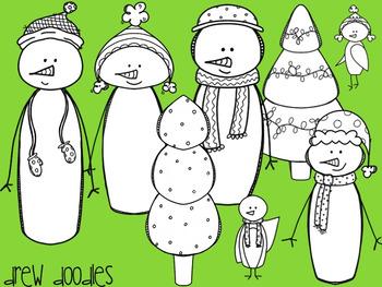 Holiday Snowman Digital Clip Art Set- Black Line Version