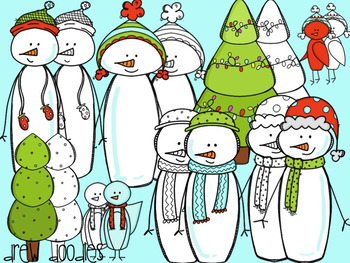 Holiday Snowman Digital Clip Art Set- Color and Black Line COMBO
