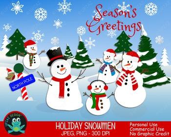 Holiday Snowman (Upzaz Digital Clipart)