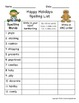 Holiday Spelling List with Crossword Puzzle and Word Work