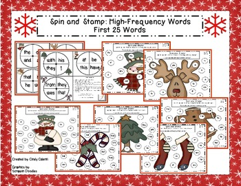 Holiday Spin and Stamp High Frequency Word Practice (1st 2