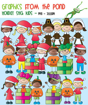 Holiday Stick Kids - Clipart for Teaching Resources