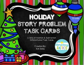 Holiday Word Problem Task Cards (Addition, Subtraction, Mu