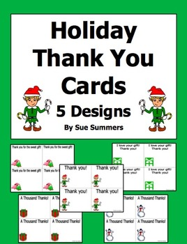 Holiday Thank You Cards in English - 5 Designs