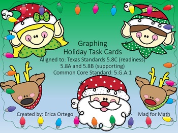 Holiday Themed Graphing on Coordinate Plane Task Cards 5.8