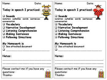 Holiday Themed Parent Speech and Language Communication Sheets