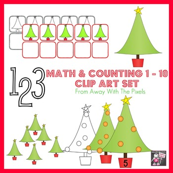 Holiday Tree Counting & Math Clip Art 1 - 10 - Color and B