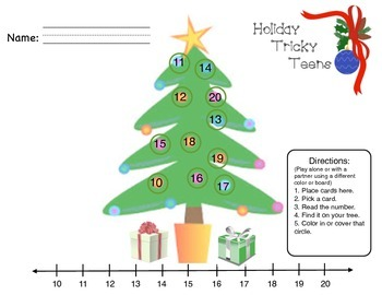 Holiday Tricky Teen Math - Counting, Number Recognition, o