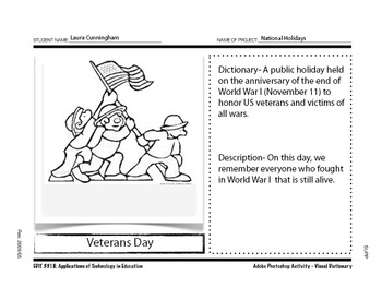 Holiday Visual Dictionary Coloring Pages