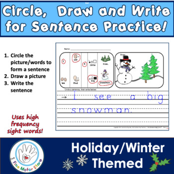 Holiday/Winter Circle, Draw and Write Sentences with Word