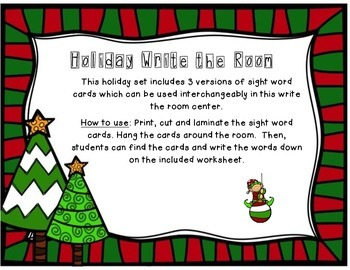 Holiday Write the Room - Sight Words