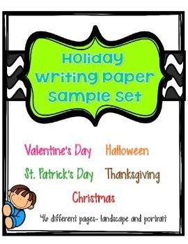 Holiday Writing Paper Sample Set FREE