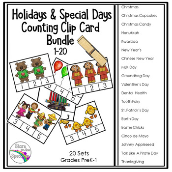 Holiday Clip Card Bundle Counting 1-20