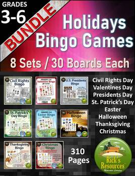 Holidays Bingo Bundle - 8 Sets