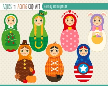 Holidays Matroyshka Russian Dolls Clip Art - color and outlines
