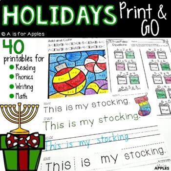 Holidays Print and Go {ELA & Math}