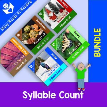 Holidays and Seasons Syllable Count GROWING BUNDLE: Grades 1-2