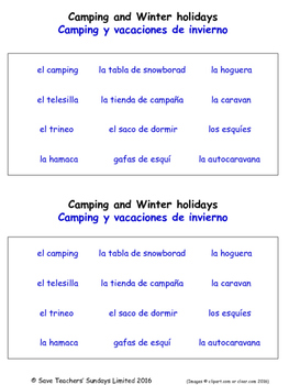 Holidays in Spanish Worksheets