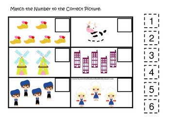 Holland themed Match the Number preschool printable.  Home