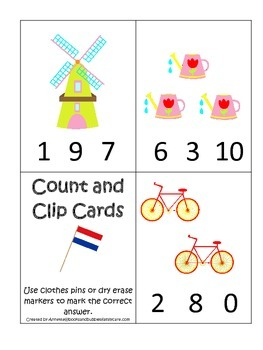 Holland themed Numbers Clip it Cards preschool math learni