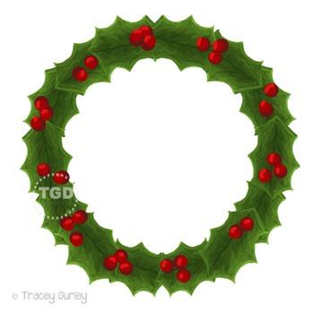 Holly Wreath Clip Art, Hand painted clipart Printable Trac
