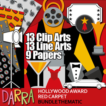 Hollywood Award Red Carpet Clip Art Bundle - Movie night p