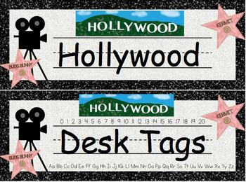 Hollywood Desk Tags (Editable)