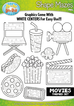 Hollywood Movies Shaped Mazes Clipart Set — Includes 15 Graphics!