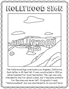 Hollywood Sign Informational Text Coloring Page Activity o