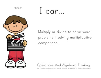Hollywood Theme 4th grade math Common Core Posters fourth