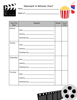 Hollywood Theme Behavior & Homework Chart