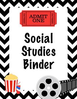 Hollywood Theme Social Studies Binder Cover - Homework and