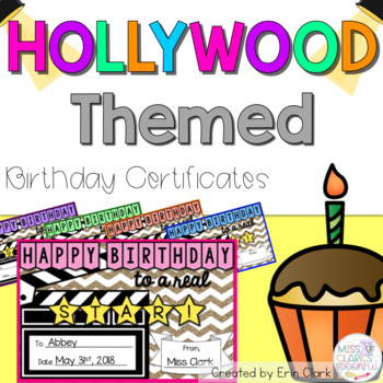 Hollywood Themed Birthday Certificates