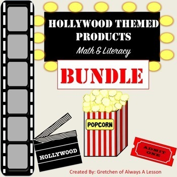 Hollywood Themed Math and Literacy Products Bundle