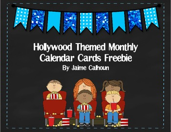 Hollywood Themed Monthly Calendar Cards *Freebie*
