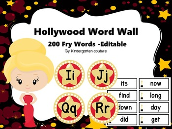 Hollywood Word Wall With 200 Fry Words #1 -Editable