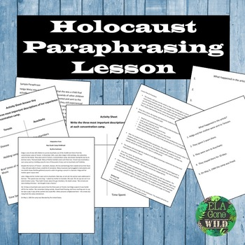Paraphrasing Lesson (Holocaust Close Read, Activity, and L