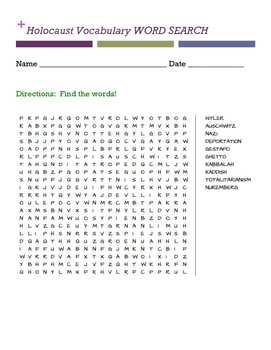 Holocaust Vocabulary WORD SEARCH