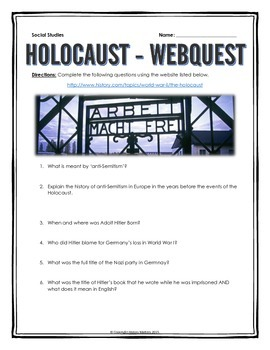Holocaust - Webquest with Key