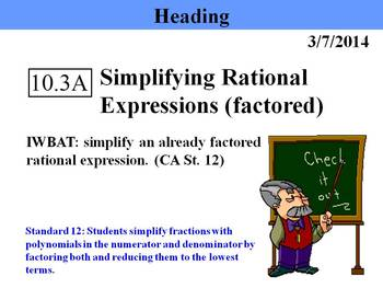 Holt Algebra 10.3A Simplifying Rational Expressions (facto