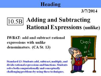 Holt Algebra 10.5B Add & Subtract Rational Expr'ns (unlike