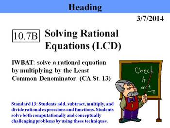 Holt Algebra 10.7B Solving Rational Equations (LCD) - PPT