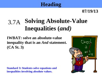 Holt Algebra 3.7A Solving Absolute-Value Inequalities (and