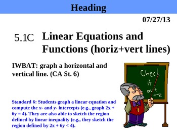 Holt Algebra 5.1C Equations and Functions (horiz + vert li