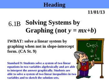 Holt Algebra 6.1B Solving Systems by Graphing (not y = mx
