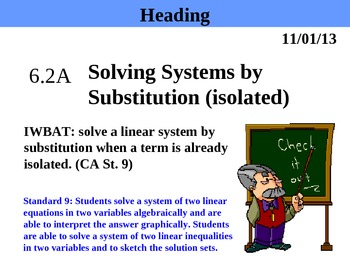 Holt Algebra 6.2A Solving Systems by Substitution (isolate