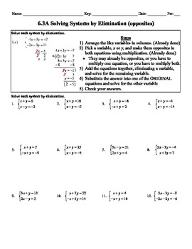 Holt Algebra 6.3A Solving Systems by Elimination (opposite