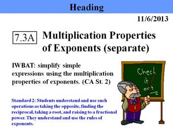 Holt Algebra 7.3A Multiplication Properties of Exponents (