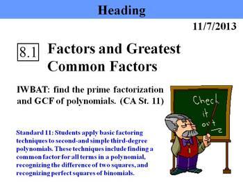 Holt Algebra 8.1 Factors and Greatest Common Factors PPT